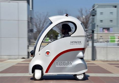 """The Hitachi Robot for Personal Intelligent Transport System, or Ropits, is a self driving, one-person vehicle aimed at increasing mobility for disabled or elderly people. The Ropits car is meant as part of a public transportation plan in which folks with mobility problems can call a Ropits from a number of special """"stops"""" throughout a city."""