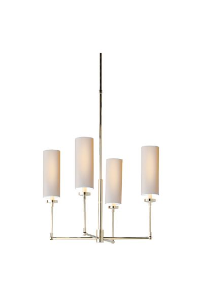 """Nook Table Lighting SPECIFICATIONS O/A Height: 44.5"""" Min. Custom Height: 32"""" Width: 24"""" Canopy: 4.25"""" Round Shade Details: 4"""" X 4"""" X 9.5"""" Socket: 4 - E12 Candelabra Wattage: 4 - 25 B"""