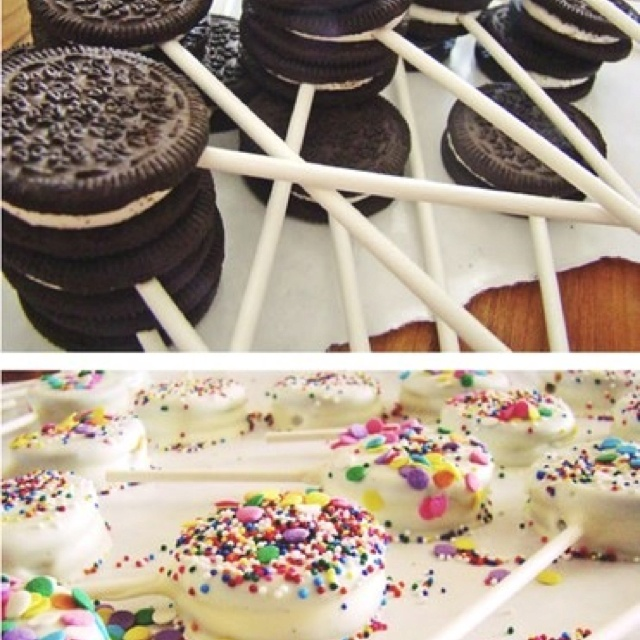 Oreo dipped cookies... Kids party ideas dark chocolate with white dots for bowling balls