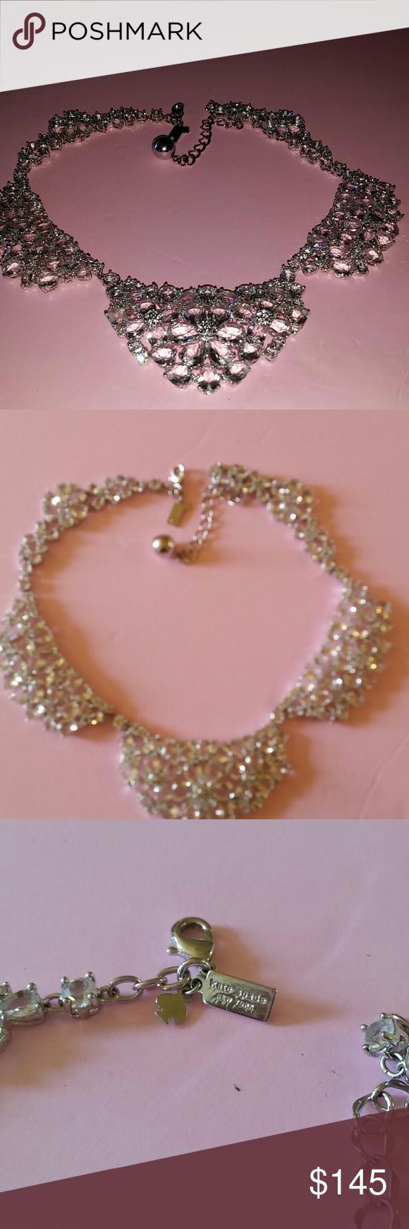KATE SPADE STATEMENT NECKLACE $215.00 FIRM New! With Out Tag.  Superior Sparkle.  Doesn't  get any better. In comparison to my real diamonds this gives much competition!  NO foil back CRYSTALS here. It does not have cuts or facets on the surface of stones. Shaped in six petal flowers. There is so much delicate detail in this piece  Stones have flat surface and beveled edges.  This is different!  MORE pics will be posted kate spade Jewelry Necklaces