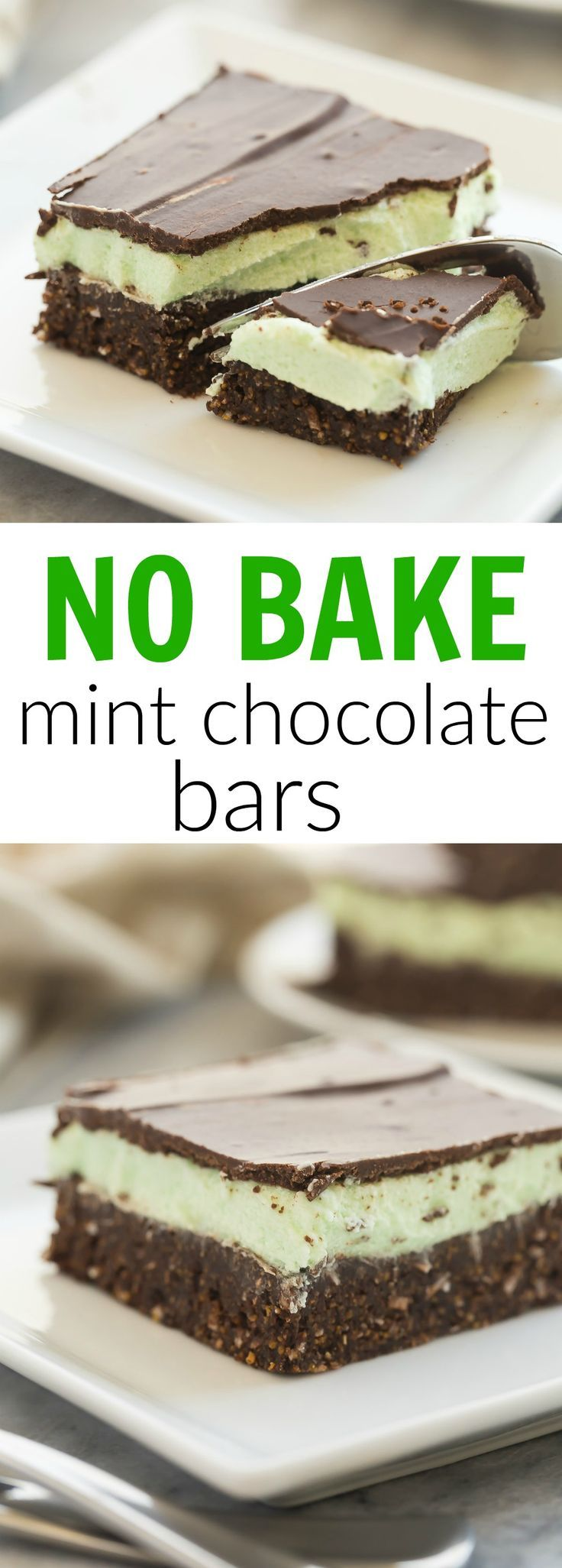 These No Bake Mint Chocolate Bars are one of my ALL-TIME favorites! Made up of a no bake graham cracker crust and topped with a creamy mint frosting and chocolate ganache!