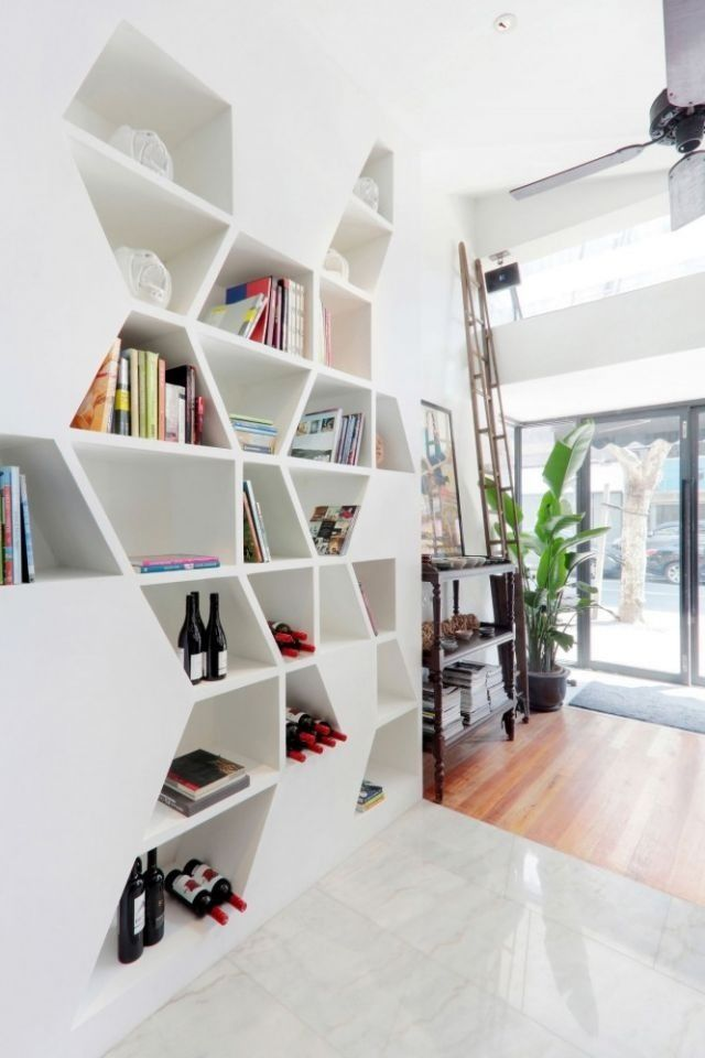 Shelves with edgy lines.