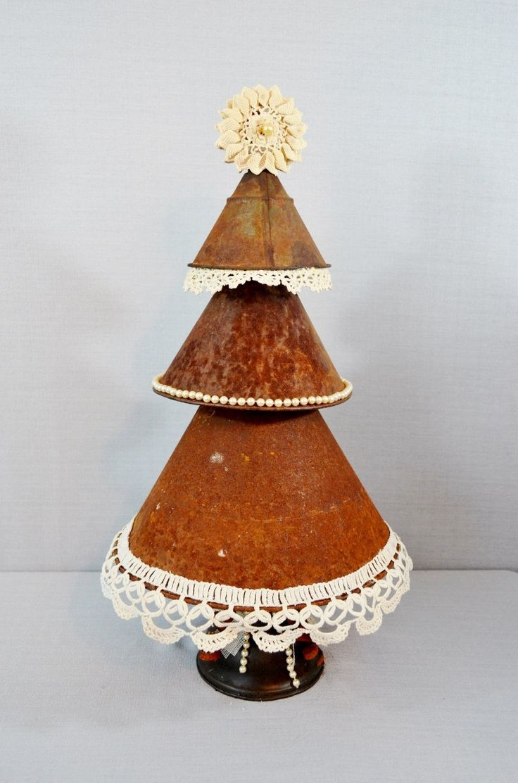 metal christmas tree vintage funnels crocheted lace vintage jewelry oil can rusty cream rustic primitive shabby - Metal Christmas Tree