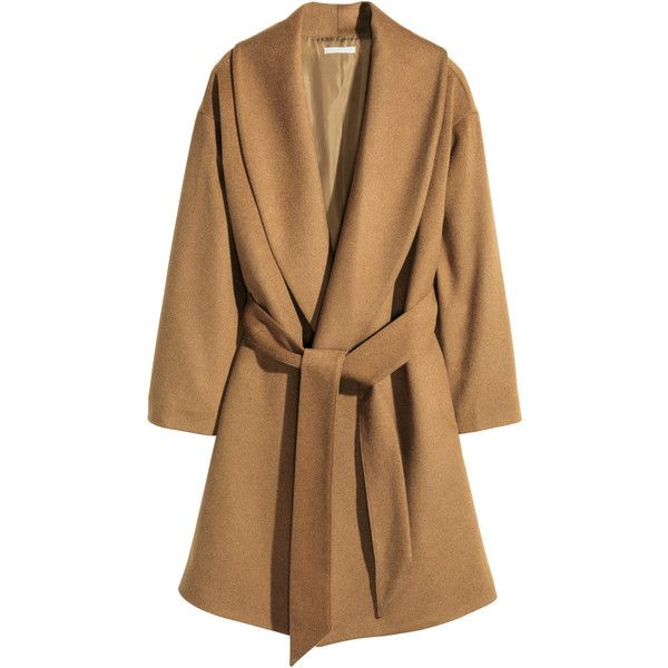 H&M Coat in a wool blend (£60) ❤ liked on Polyvore featuring outerwear, coats, camel, shawl coat, tie belt, h&m, brown shawl and h&m coats