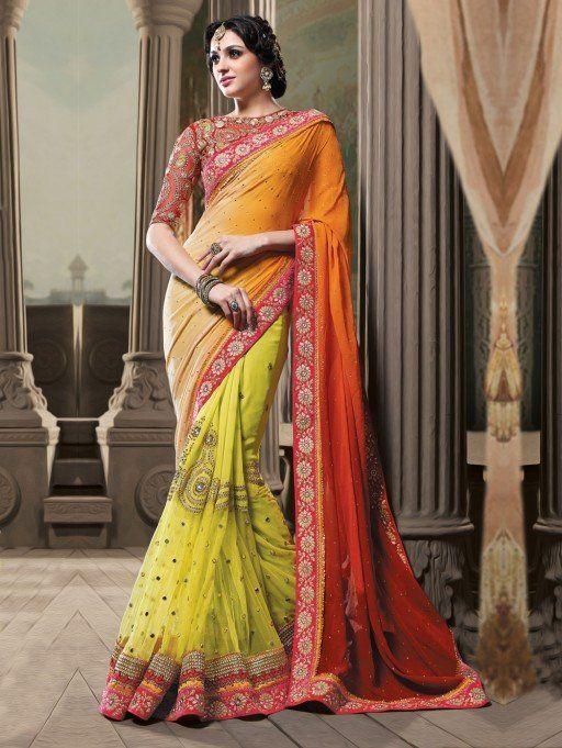Orange and Yellow Net Saree with Zari Work