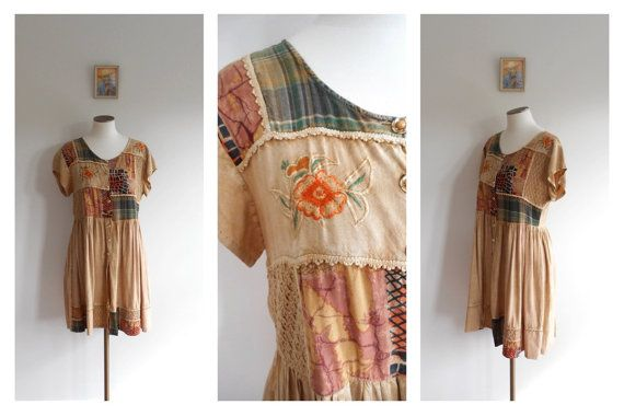 Vintage 80s Baby Doll Dress // BOHO Patchwork Style //