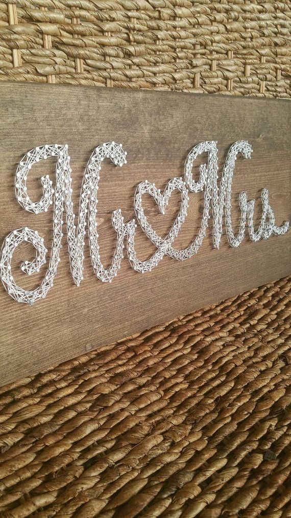 Mr & Mrs String Art Sign Rustic Wedding Decor by MushBugCrafts