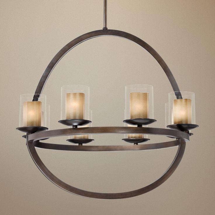 """Pin By Jennifer Seefeldt On Lighting: Double Glass 31 1/2"""" Wide Oil-Rubbed Bronze Chandelier"""