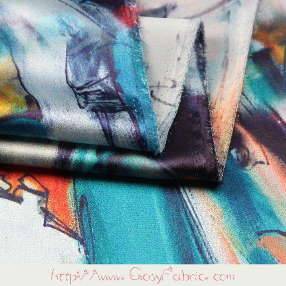 Tela Charmeuse de seda Stretch colores con impresión del arte