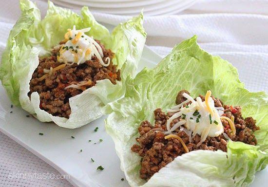 """Turkey Taco Lettuce Wraps   Skinnytaste Nice """"clean eating"""" taco seasoning to flavor the meat!"""