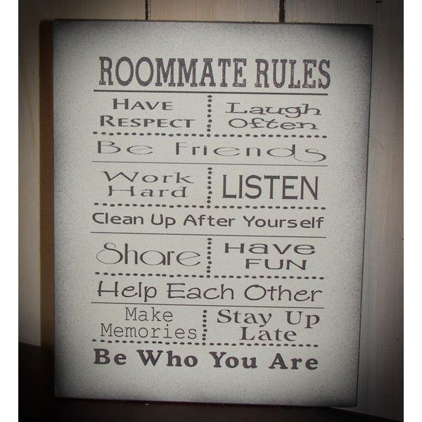 Roommate Rules Great for Dorm Room at College or Apartment Wood Sign ($25) ❤ liked on Polyvore featuring home, home decor, wall art, black, home & living, home décor, wall décor, wall hangings, home wall decor and wooden home decor