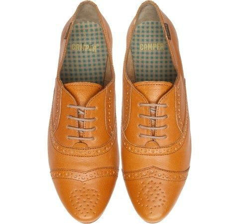 TWS by Camper - Shoe in light brown leather with decorative perforations, laces, leather sole and rubber heel piece. ($100-200) - Svpply