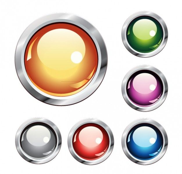 UI Crystal buttons colorful vector set