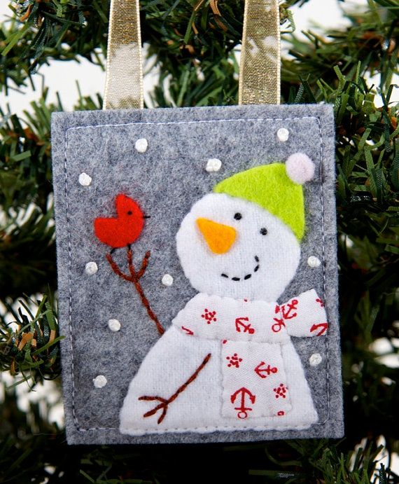 Little Red Bird and Snowman Wool and Felt Handmade Christmas Ornament, Christmas Tree Decoration, Advent Calendar Gift, Present Decoration