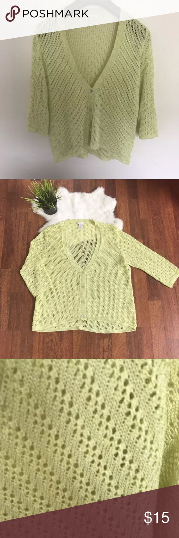 "Chico's Woman Sz 2 Cardigan Green Crochet Chico's Woman Sz 2 Cardigan Green Crochet 3/4 Sleeve V Neck Front Button  Type: Woman Top  Style: Woman Cardigan Crochet  Brand: Chico's  Material: Rayon, Polyester  Color: Green  Measurements Armpit to armpit: 20"", Length: 23""  Condition: Pre-owned, good condition. See pictures for more details. Pet and smoke free. Chico's Sweaters Cardigans"