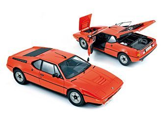This BMW M1 Diecast Model Car is Orange and features working wheels, steering and also opening bonnet, boot with engine, doors. It is made by Norev and is 1:18 scale (approx. 24cm / 9.4in long).  ...