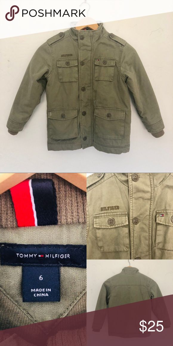 👦 Tommy Hilfiger sz 6 Insulated Army Jacket This is so cute and warm! Zipper closure with optional button closure over. Gently used. I also have this same jacket in a size 2T in my closet if you want matching kiddos 😉 Tommy Hilfiger Jackets & Coats
