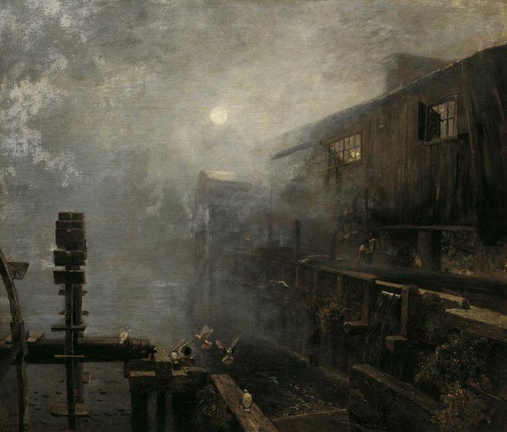 Sägemühle im Morgennebel Nebliger Morgen, WinteranfangDatierung: 1886 Künstler/in: Emil Jakob Schindler (1842 Wien – 1892 Westerland)