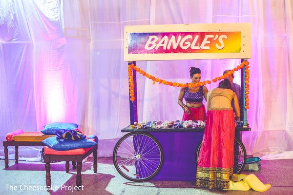 Beautiful sangeet bangle station. http://www.maharaniweddings.com/gallery/photo/85278
