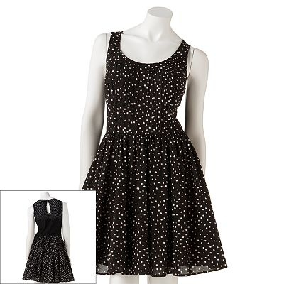 LC Lauren Conrad Polka-Dot Fit and Flare Dress