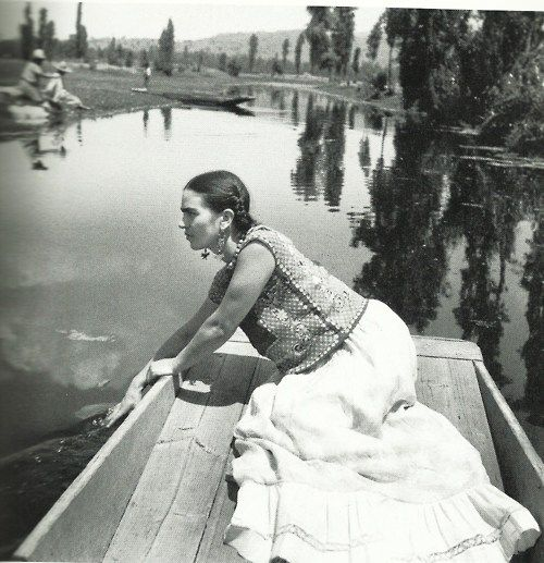 Frida boating at Xochimilco, Fritz Henle,  1936