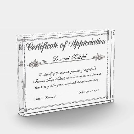 Make Your Own Certificate of Appreciation Personalized Award/Plaque online in minutes!!