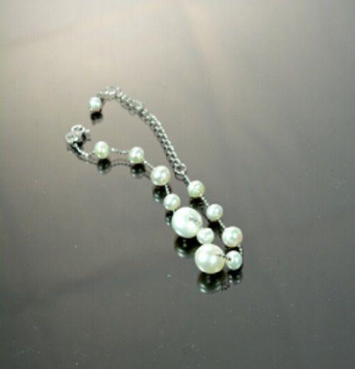 """Natural White Freshwater Pearl Bracelet 11 Pearl Beads 925 Silver Chain 8.5""""  #Handmade #BRACELET"""