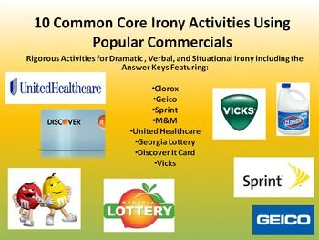 The provided 10 Common Core rigorous activities with an answer key explore dramatic, verbal, and situational irony in commercials for popular products. The activities are tied to the Common Core standards RI2, RI4, RL6, and SL3. The activities focus on theme, dramatic and situational irony, and speaking and listening standards.