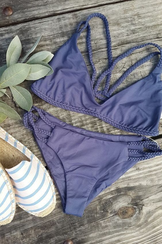 $24.99 Sexy Purple Romance Solid Color Bikini Set