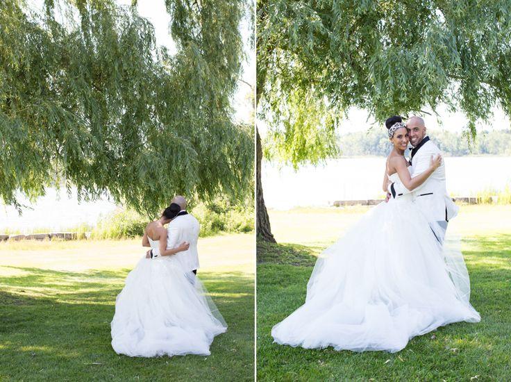 Royal Ambassador bride and groom under willow tree