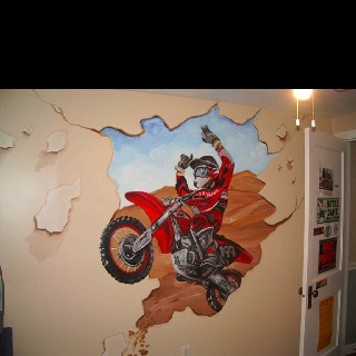 Dirt bike decal, great for Bry's future room