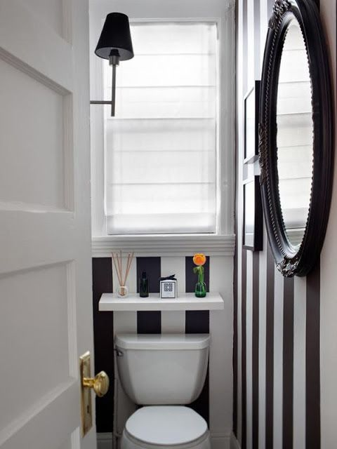 35 small and functional bathrooms ideas. Love shelf above toilet for decor
