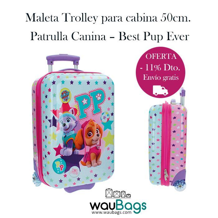 """Hoy te presentamos la Maleta Trolley Patrulla Canina """"Best Pup Ever"""" con la que no tendréis que facturar, ya que sus medidas son las homologadas para poderla llevar en la cabina del avión.  Con 2 ruedas muy resistentes y mango extensible. Su interior está forrado a juego con la maleta y cuenta con bolsillos interiores, además de una goma elástica para la sujección de la ropa. @waubags #patrullacanina #pawpatrol #maleta #trolley #infantil #descuento #oferta"""
