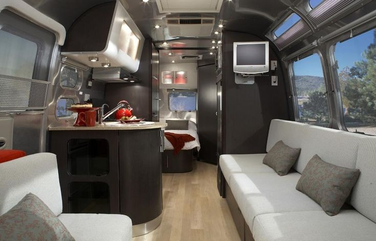 Marble countertops and flat screen tv's....Trailers Interiors, Campers, Rv Interiors, Airstream Interiors, Airstream International, Camps, Travel Trailers, Airstream Dreams, Airstream Trailers