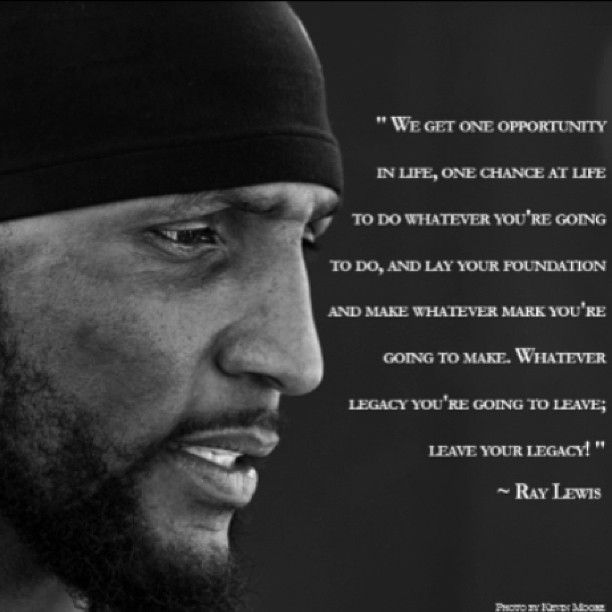 Ray Lewis...thanks for the memories Ray! Go Ravens!