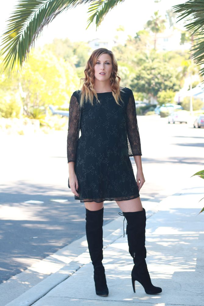 d8b702fc9 The perfect fall date night look with lace dress and thigh high boots.