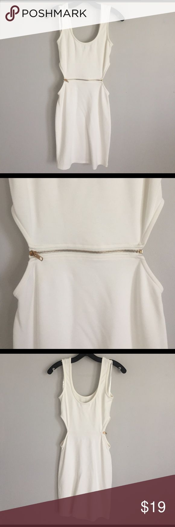 Arden B. - Light Cream Tank Dress Off white cotton mini tank dress has side cut outs and a functional gold zipper in the mid section.  Girl for a girl's night out! Arden B Dresses Mini