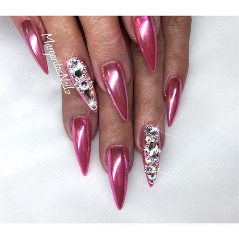 Pink Chrome stiletto nails Swarovski nail design by MargaritasNailz