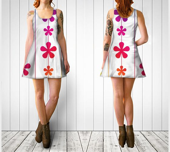"""Flare dress """"Rainbow Flowers and Stripes Flare Dress"""" by Cori-Beth's Originals at Art of Where."""