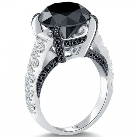 7.99 Carat Certified Natural Black Diamond Engagement Ring 14k White Gold - Black Diamond Engagement Rings - Engagement