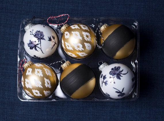 Set of 6  Assorted Hand Painted Ball Ornaments by TheSageFox