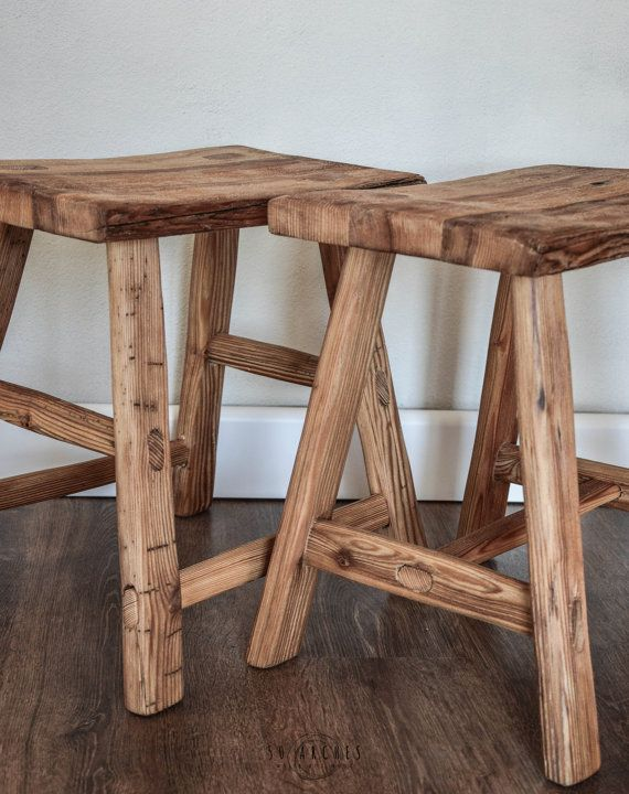 handmade wooden stool,milking,spruce barn wood,bathroom furniture,bedside table,old wood,boho, bohemian,raw,french coffee side table