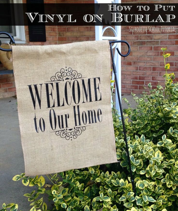 I've been asked a lot lately - blame it on fall and winter and the season of all things burlap  - about how to put vinyl on burlap.  I've actually seen answers to this question ranging from using a ha