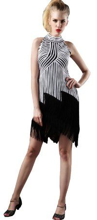 TDA Women's Stripes Combo Stand Collar Tango Latin Dance Dress Black : Sports & Outdoors