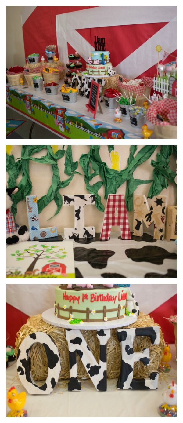 Adorable barnyard animals are featured in this cute Farm Themed First Birthday Party.