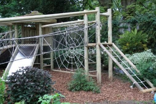 The most amazing website for wooden climbers, swings & seating! I love the spider web design