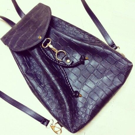 Black Croco faux leather ClicBackpack :) #backpack #bag #clicjewels #clicbackpack