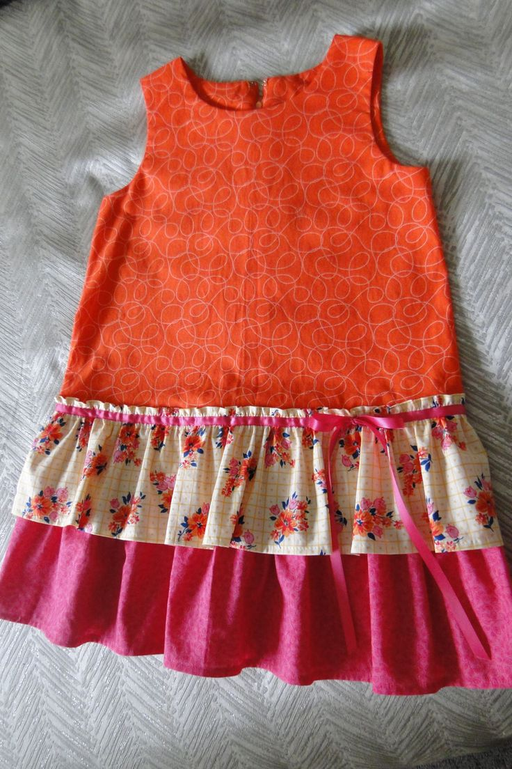 Girls A line shift dress in pink, orange and floral print cotton by VSLFashions on Etsy