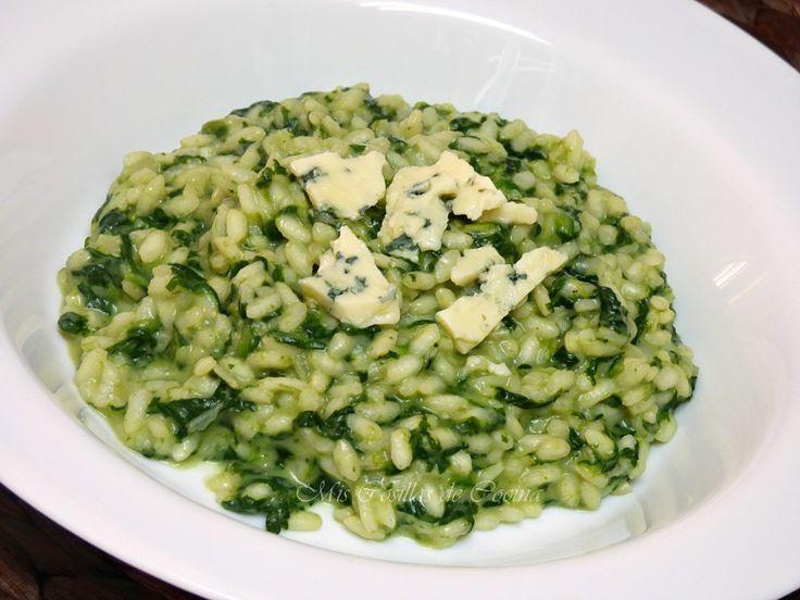 Risotto de espinacas y queso azul