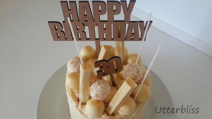 White chocolate birthday cake.